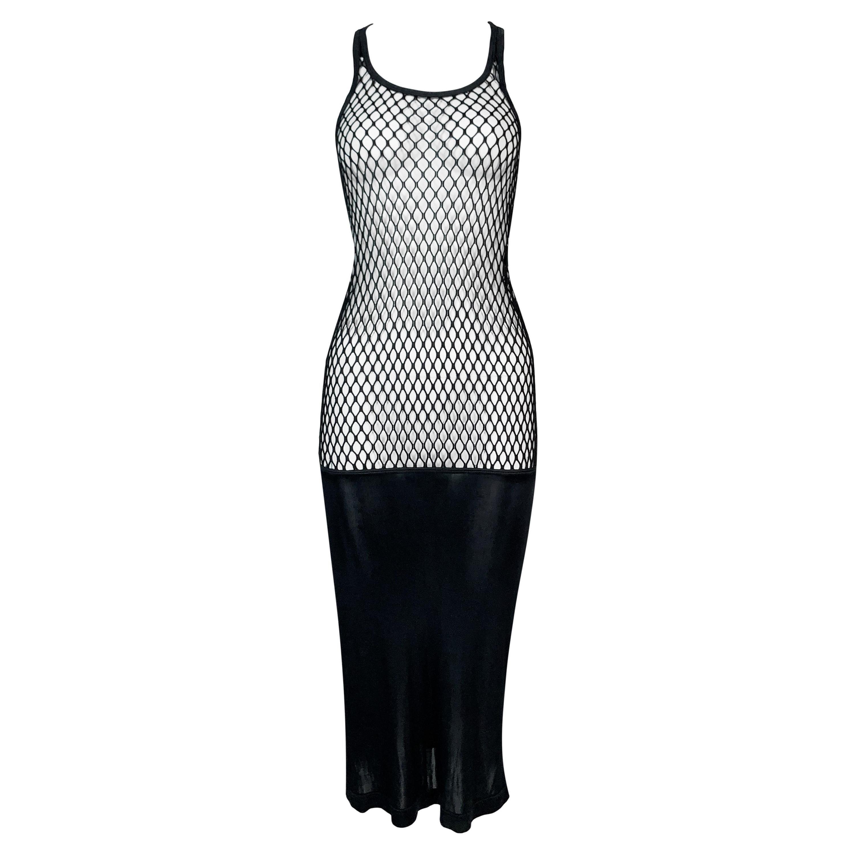 S/S 2001 Jean Paul Gaultier Sheer Black Fishnet Bodycon Dress