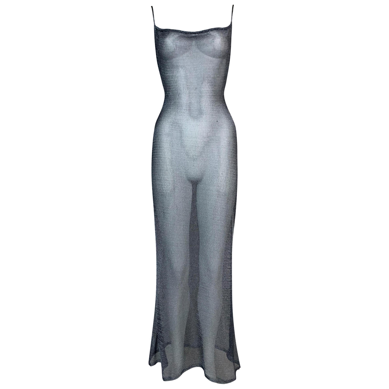 S/S 2001 John Galliano Faux Chainmail Sheer Metal Knit Maxi Dress