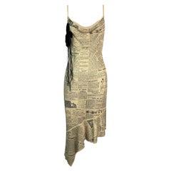 S/S 2001 John Galliano Gold Knit News Print Slinky Dress M