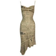S/S 2001 John Galliano Semi-Sheer Gold News Print Slinky Knit Dress