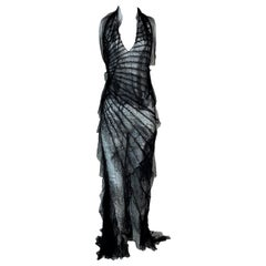 S/S 2001 Roberto Cavalli Runway MET Sheer Black Lace Ruffle Maxi Dress