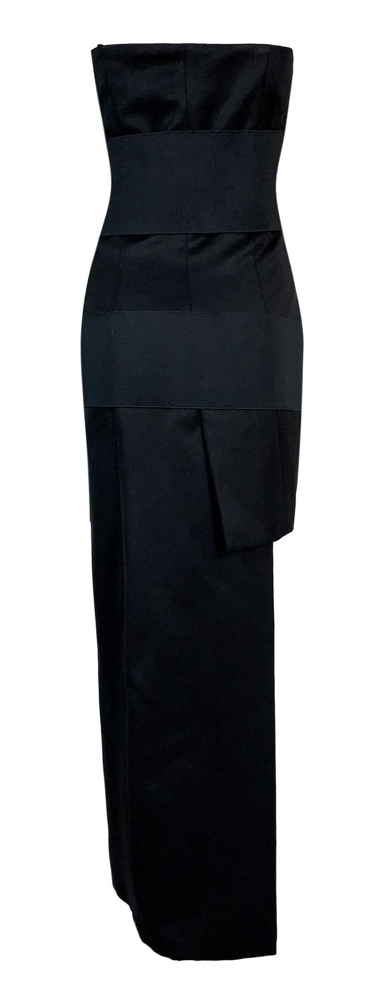 S/S 2001 Yves Saint Laurent by Tom Ford Black Bandage Wrap Hi-Low Mini Dress 36 In Good Condition For Sale In Yukon, OK