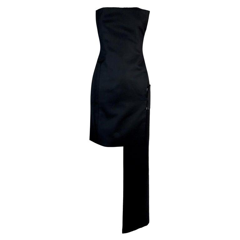 S/S 2001 Yves Saint Laurent by Tom Ford Black Bandage Wrap Hi-Low Mini Dress 36 For Sale