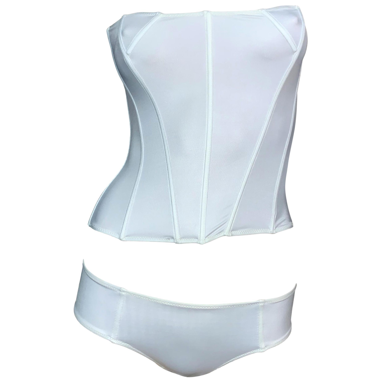 S/S 2001 Yves Saint Laurent Tom Ford Pearl Bustier Bikini Lingerie Set S