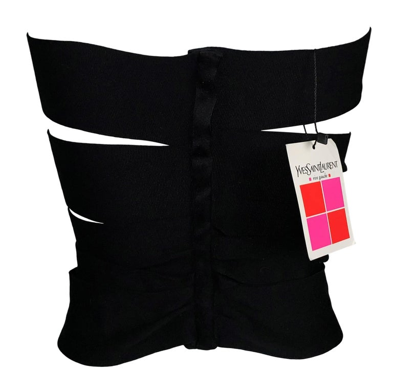 S/S 2001 Yves Saint Laurent Tom Ford Runway Bandage Black Wrap Strap Top Belt M In New Condition For Sale In Yukon, OK