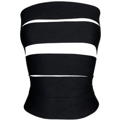S/S 2001 Yves Saint Laurent Tom Ford Runway Bandage Black Wrap Strap Top Belt M