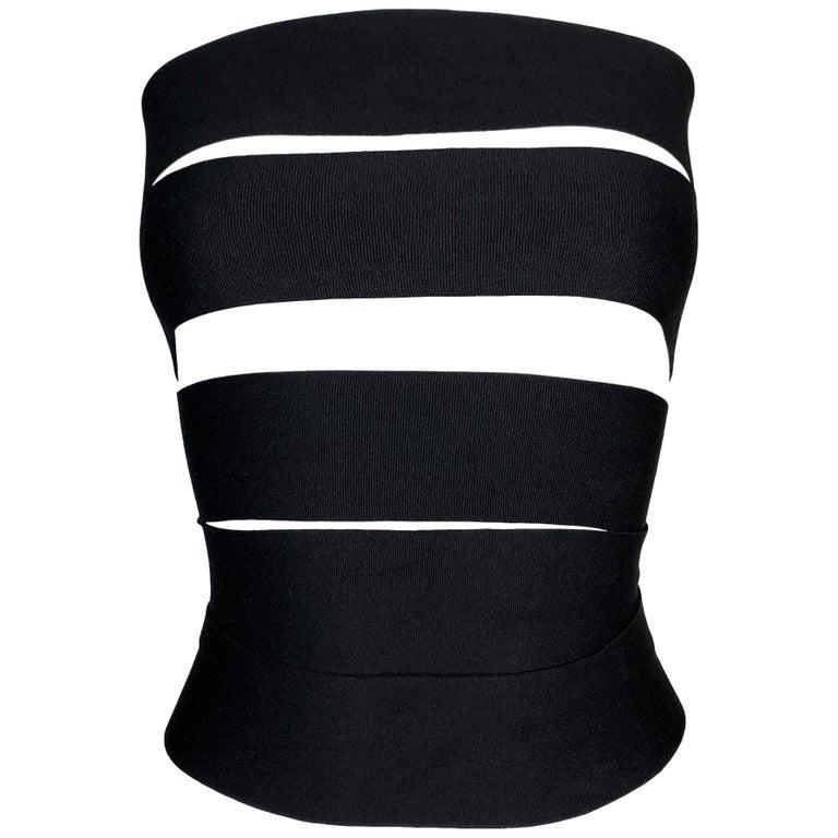 S/S 2001 Yves Saint Laurent Tom Ford Runway Bandage Black Wrap Strap Top Belt M For Sale