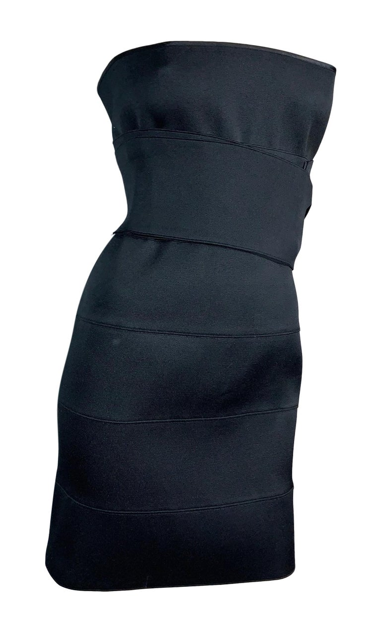 S/S 2001 Yves Saint Laurent Tom Ford Runway Black Bandage Wrap Mini Dress In Excellent Condition For Sale In Yukon, OK