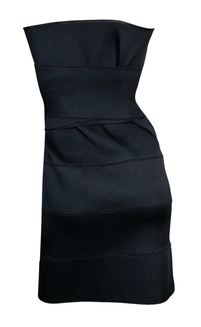 Women's S/S 2001 Yves Saint Laurent Tom Ford Runway Black Bandage Wrap Mini Dress For Sale