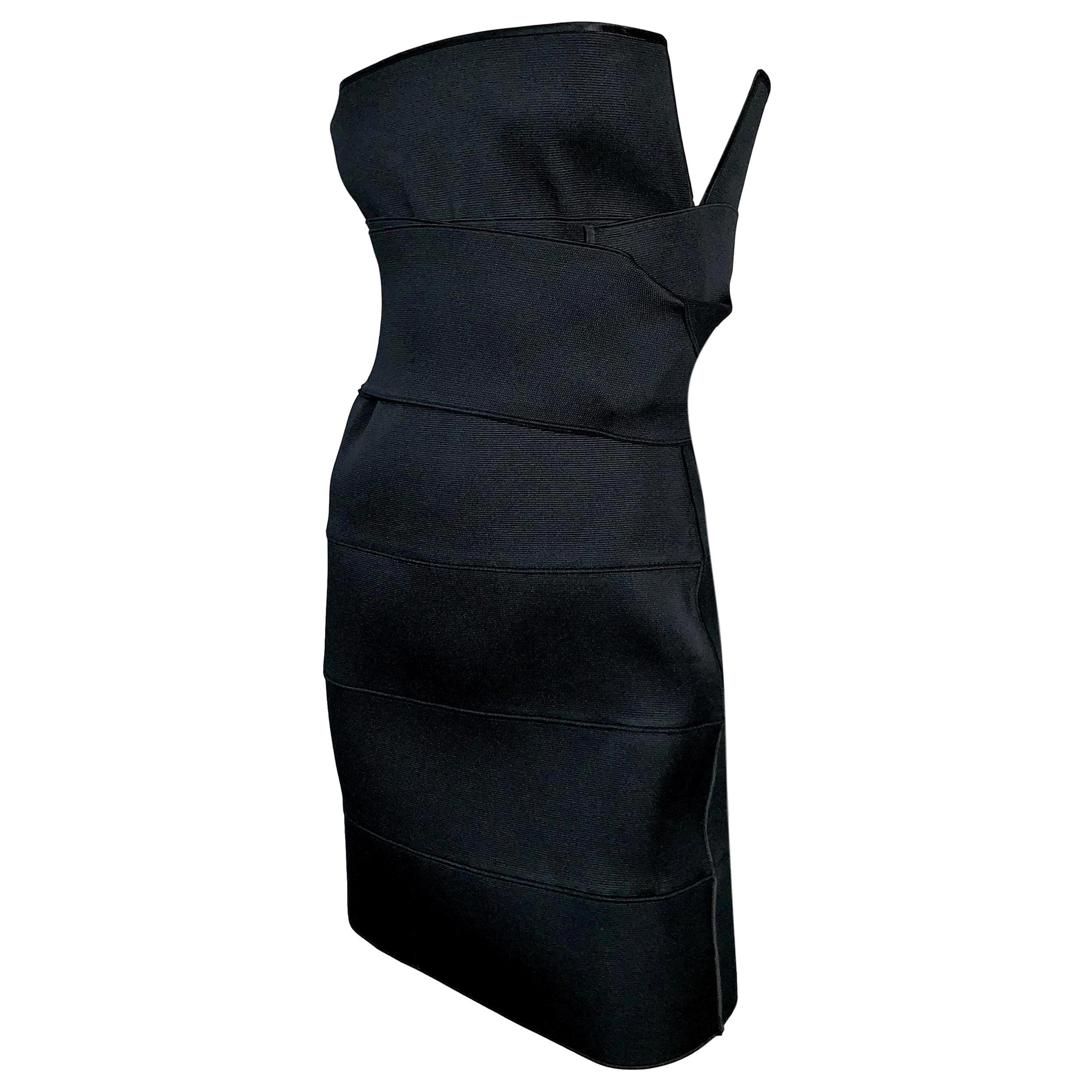 S/S 2001 Yves Saint Laurent Tom Ford Runway Black Bandage Wrap Mini Dress