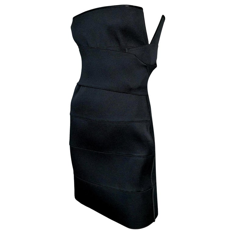 S/S 2001 Yves Saint Laurent Tom Ford Runway Black Bandage Wrap Mini Dress For Sale