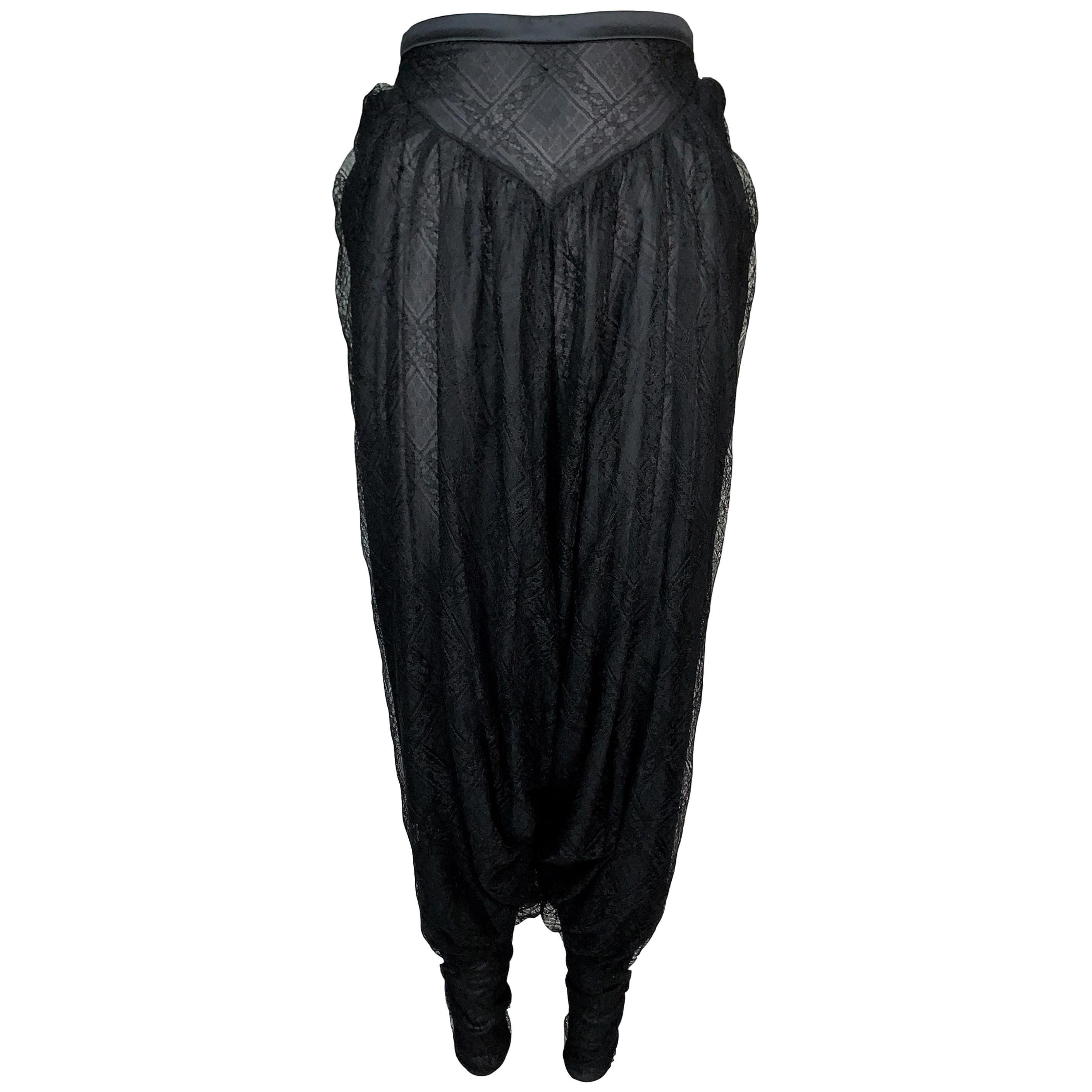 S/S 2002 Christian Dior by John Galliano Sheer Black Lace Harem Pants