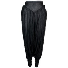 S/S 2002 Christian Dior by John Galliano Sheer Black Lace Harem Pants