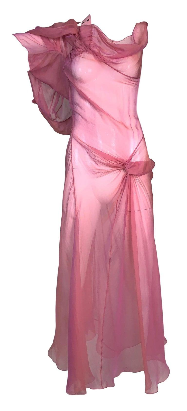 S/S 2002 Christian Dior John Galliano Runway Sheer Pink Hooded 2 Dresses In Good Condition In Yukon, OK