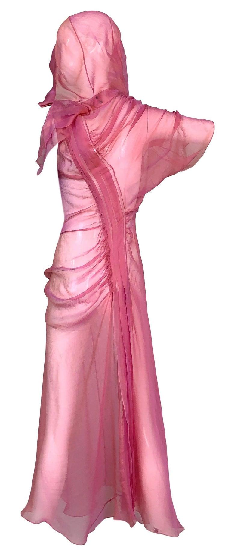 Women's S/S 2002 Christian Dior John Galliano Runway Sheer Pink Hooded 2 Dresses