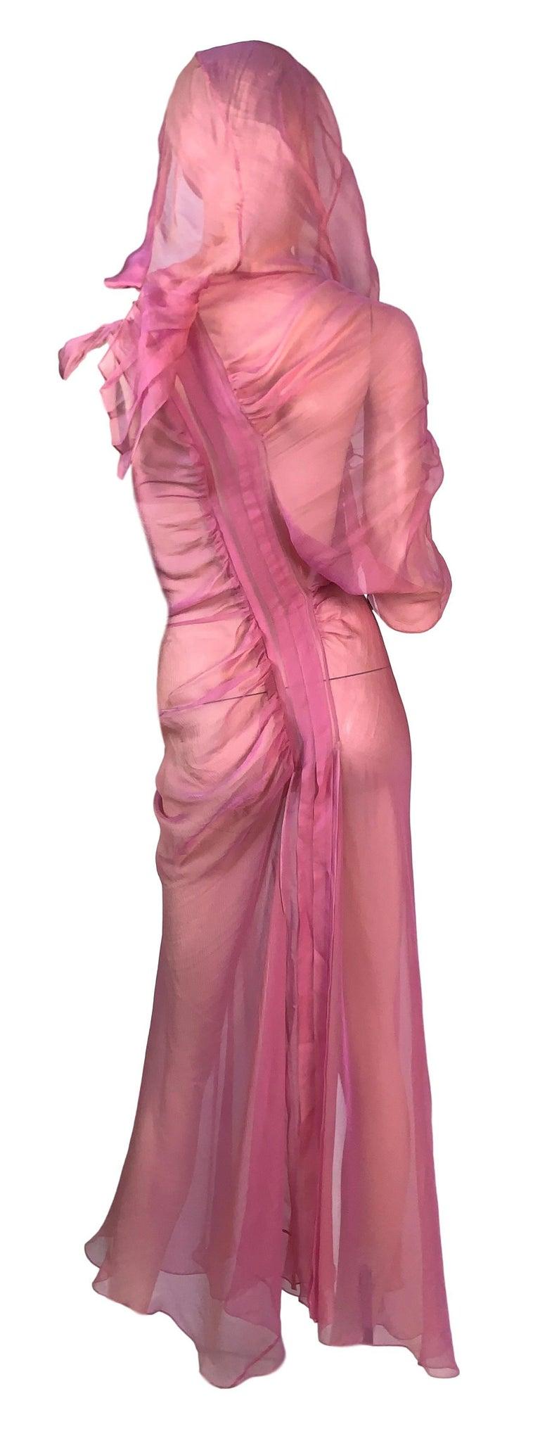 S/S 2002 Christian Dior John Galliano Runway Sheer Pink Hooded 2 Dresses 1