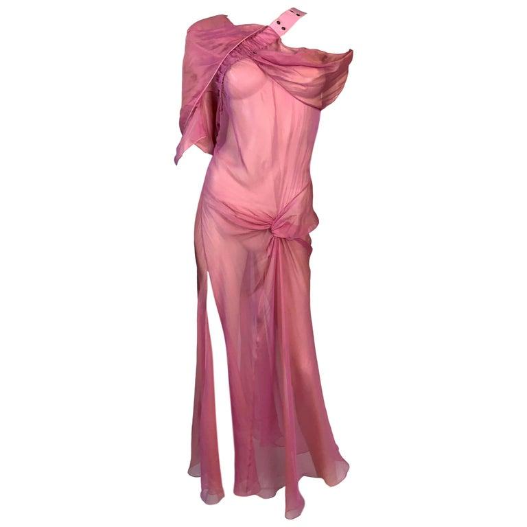 S/S 2002 Christian Dior John Galliano Runway Sheer Pink Hooded 2 Dresses