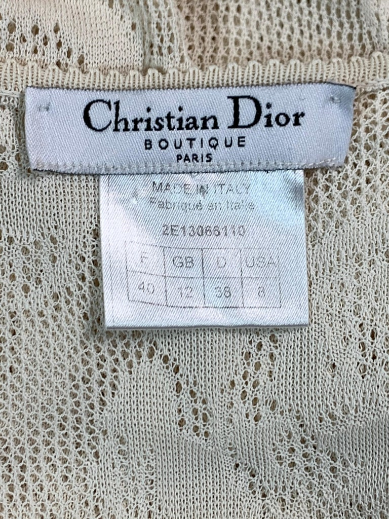Gray S/S 2002 Christian Dior John Galliano Sheer Ivory Mesh Lace Maxi Dress For Sale