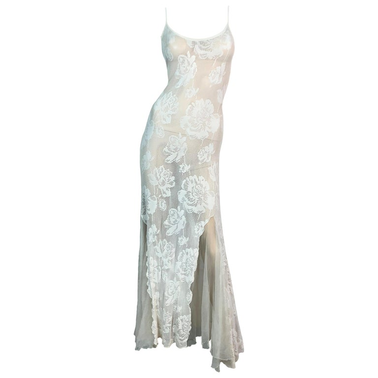 S/S 2002 Christian Dior John Galliano Sheer Ivory Mesh Lace Maxi Dress For Sale
