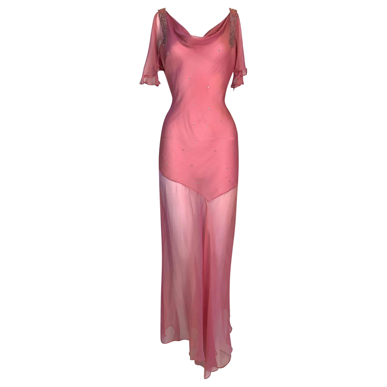 S/S 2002 Christian Dior John Galliano Sheer Pink Embellished Maxi Dress