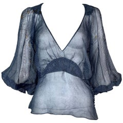 S/S 2002 Christian Dior John Galliano Trompe L'oeil Sheer Silk Blouse Top