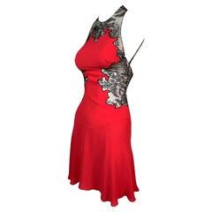 S/S 2002 Gianni Versace Red Mini Dress Sheer Black Lace