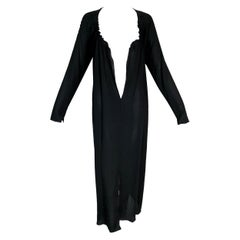 S/S 2002 Gucci by Tom Ford Runway Plunging Black Silk L/S Dress