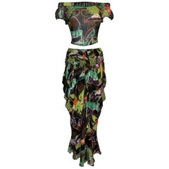 S/S 2002 John Galliano Black Silk Printed Off Shoulder Crop Top & Skirt Set