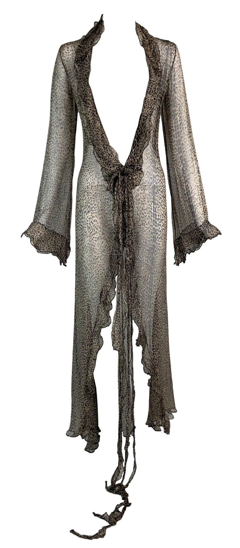 DESIGNER: S/S 2002 Roberto Cavalli Runway- was shown on the runway in a different animal print  Please contact for more information and/or photos.  CONDITION: Good- no flaws  MATERIAL: Silk  COUNTRY MADE: Italy  SIZE: 44  MEASUREMENTS; provided as a