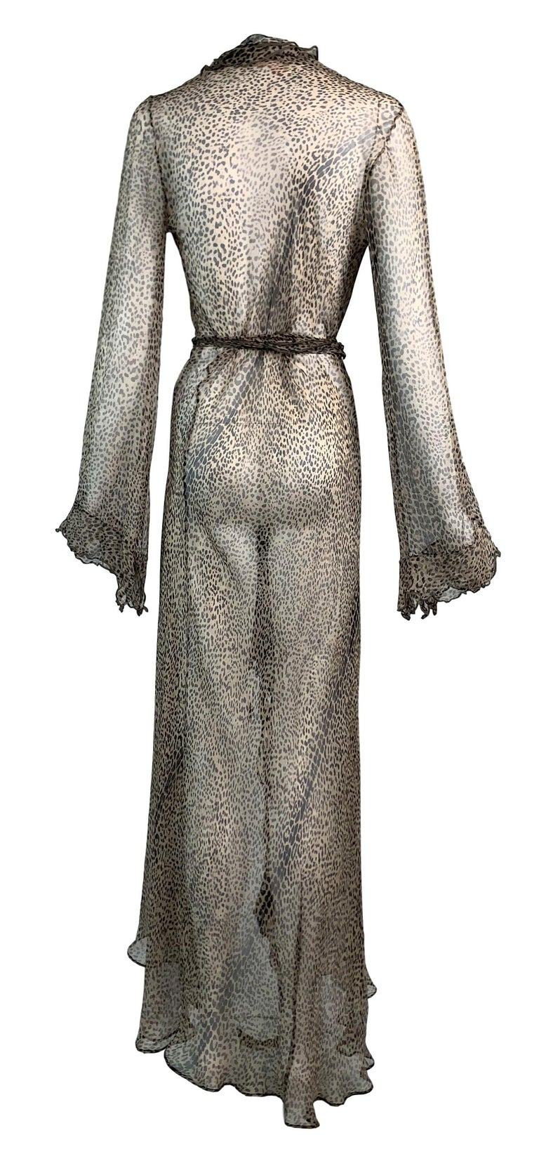 Gray S/S 2002 Roberto Cavalli Runway Sheer Leopard Silk Wrap Maxi Dress For Sale