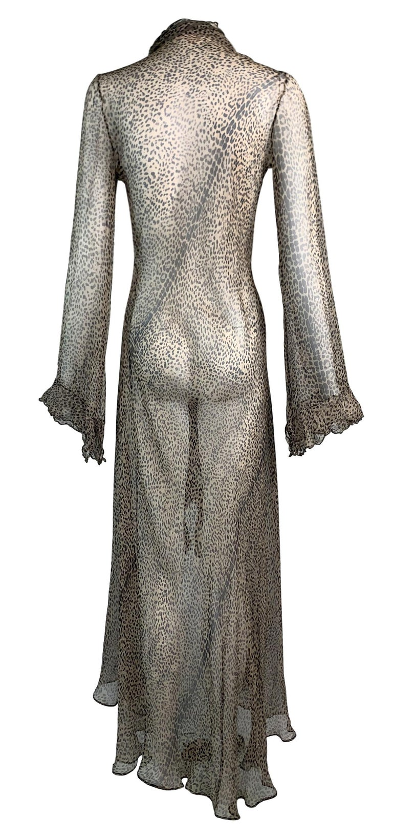 S/S 2002 Roberto Cavalli Runway Sheer Leopard Silk Wrap Maxi Dress In Good Condition For Sale In Yukon, OK
