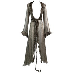 S/S 2002 Roberto Cavalli Runway Sheer Leopard Silk Wrap Maxi Dress