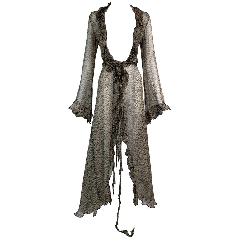 S/S 2002 Roberto Cavalli Runway Sheer Leopard Silk Wrap Maxi Dress For Sale