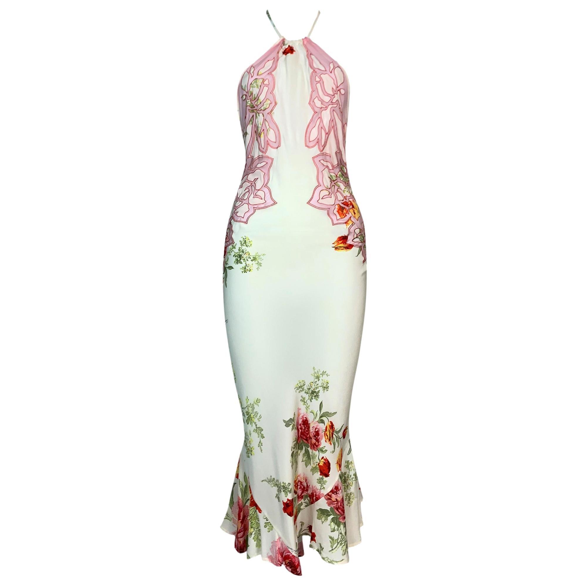 S/S 2002 Roberto Cavalli Sheer Ivory Floral Silk Tattoo Backless Dress