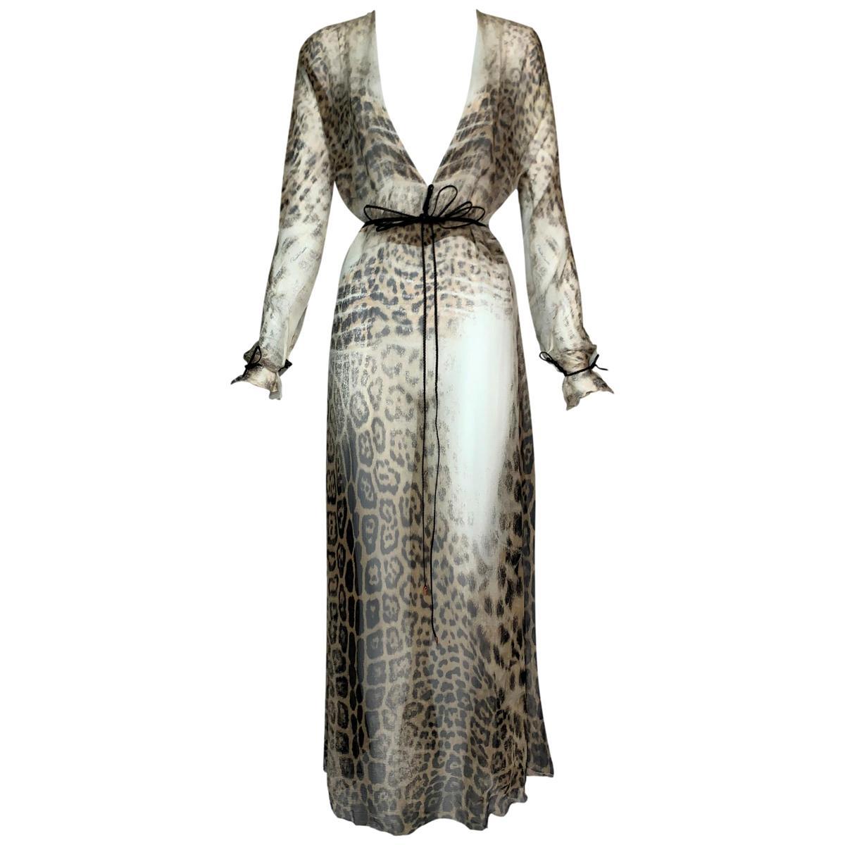 S/S 2002 Roberto Cavalli Sheer Leopard Silk Plunging High Slit Maxi Dress