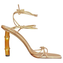 S/S 2002 TOM FORD for GUCCI NUDE BAMBOO HEEL SHOES 10.5