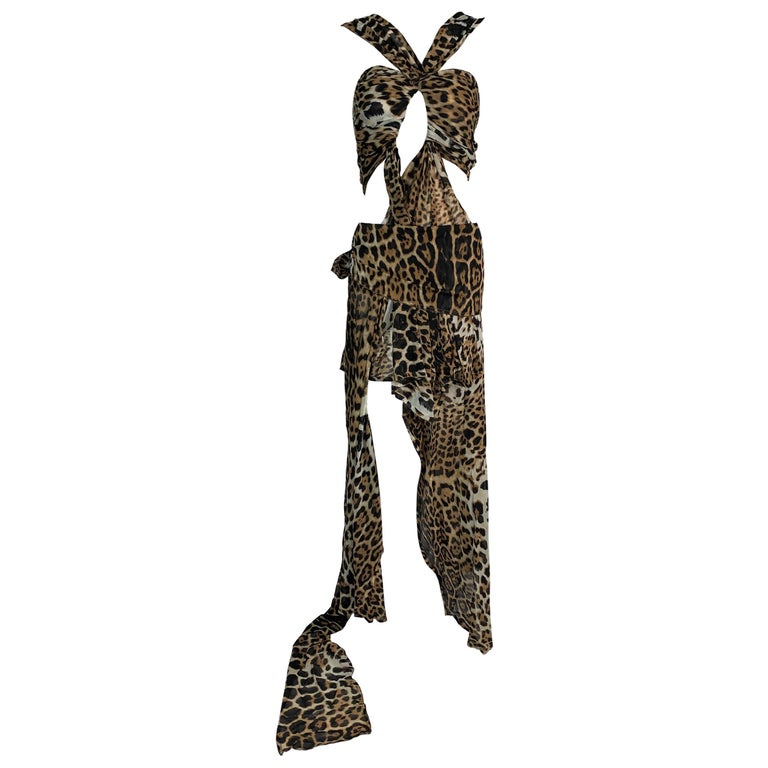 S/S 2002 Yves Saint Laurent Tom Ford Runway Leopard Silk Cut-Out Dress Gown For Sale