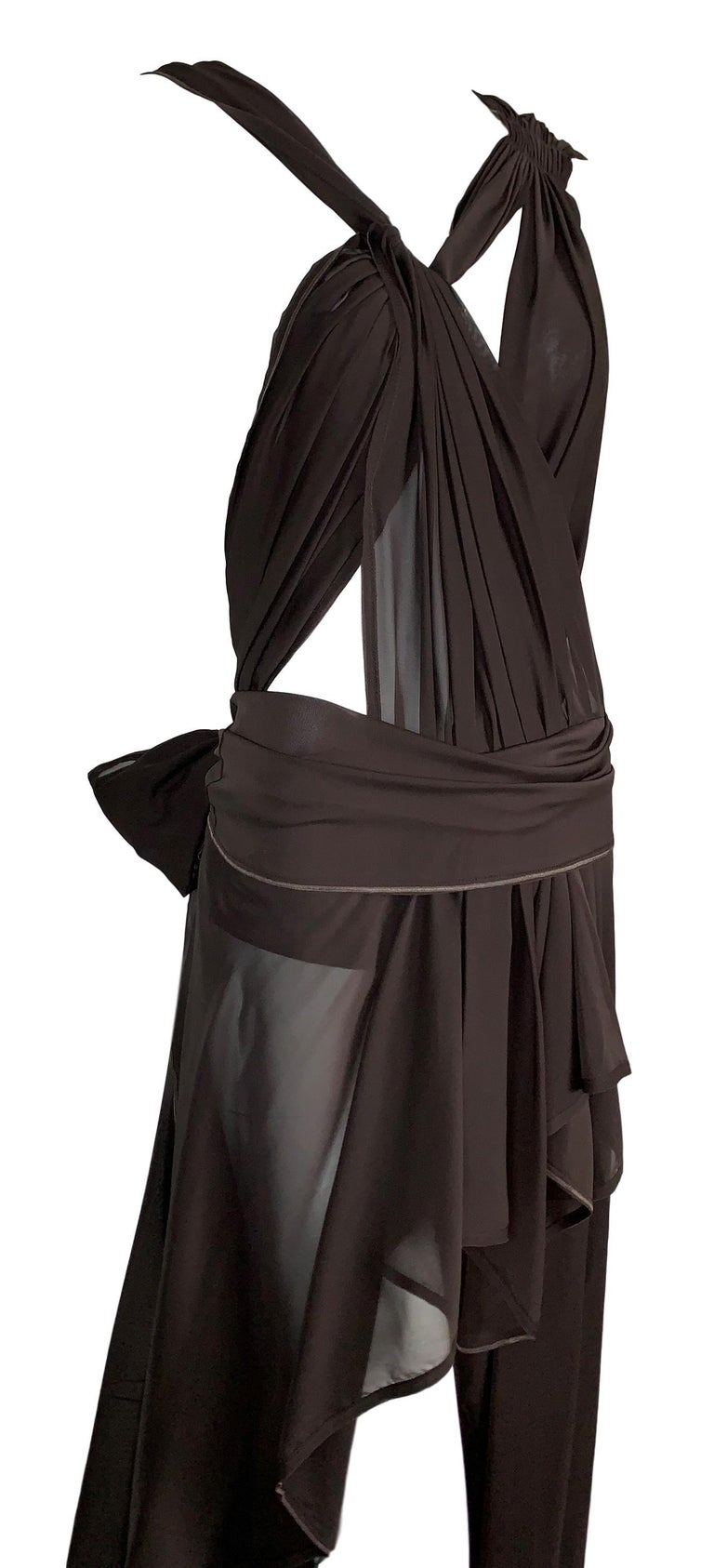 S/S 2002 Yves Saint Laurent Tom Ford Runway Sheer Brown Silk Cut-Out Dress In Good Condition For Sale In Yukon, OK