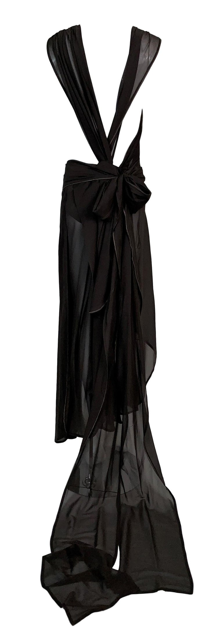 Women's S/S 2002 Yves Saint Laurent Tom Ford Runway Sheer Brown Silk Cut-Out Dress For Sale