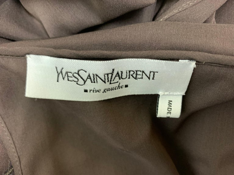 S/S 2002 Yves Saint Laurent Tom Ford Runway Sheer Brown Silk Cut-Out Dress For Sale 1