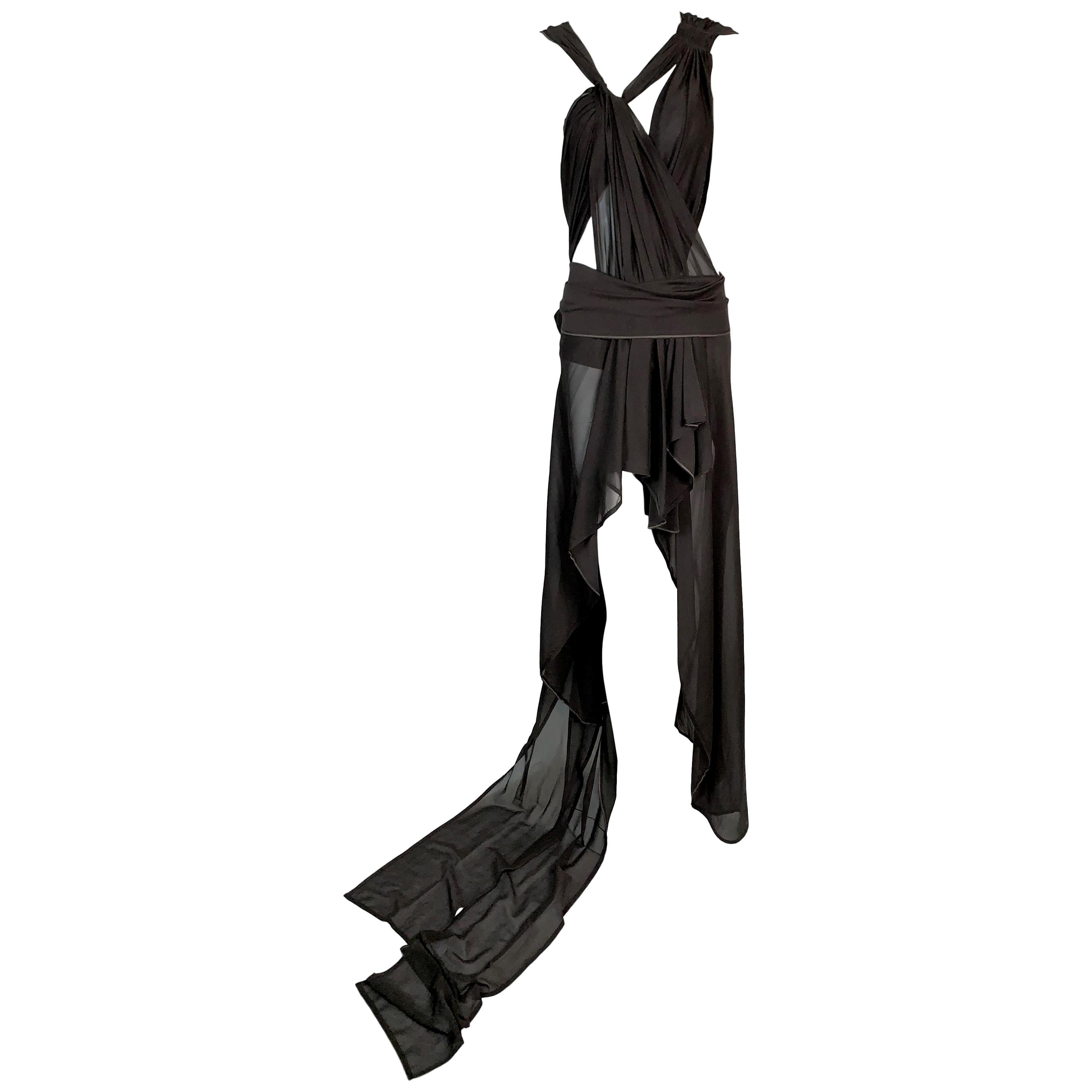 S/S 2002 Yves Saint Laurent Tom Ford Runway Sheer Brown Silk Cut-Out Dress