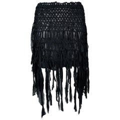 S/S 2002 Yves Saint Laurent Tom Ford Sheer Black Silk Fringe Mini Skirt