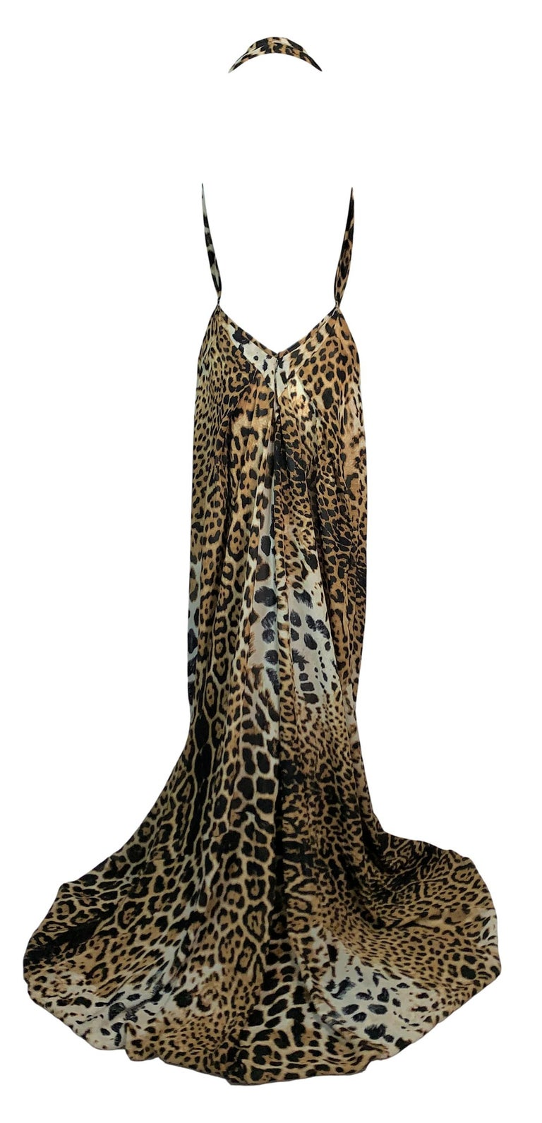 Black S/S 2002 Yves Saint Laurent Tom Ford Sheer Leopard Silk Plunging Gown Dress For Sale