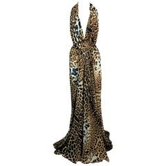 S/S 2002 Yves Saint Laurent Tom Ford Sheer Leopard Silk Plunging Gown Dress