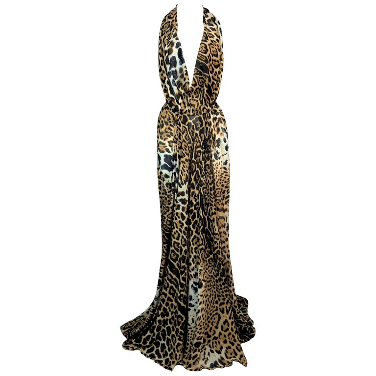 S/S 2002 Yves Saint Laurent Tom Ford Sheer Leopard Silk Plunging Gown Dress For Sale
