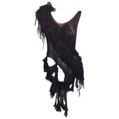 S/S 2003 Alexander McQueen Irere Shipwreck Black Sheer Silk Top 40