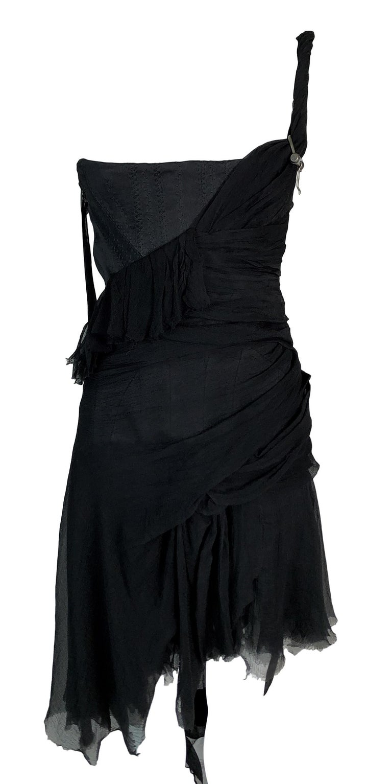 S/S 2003 Alexander McQueen Irere Shipwreck Black Silk Bustier Mini Dress In Good Condition For Sale In Yukon, OK