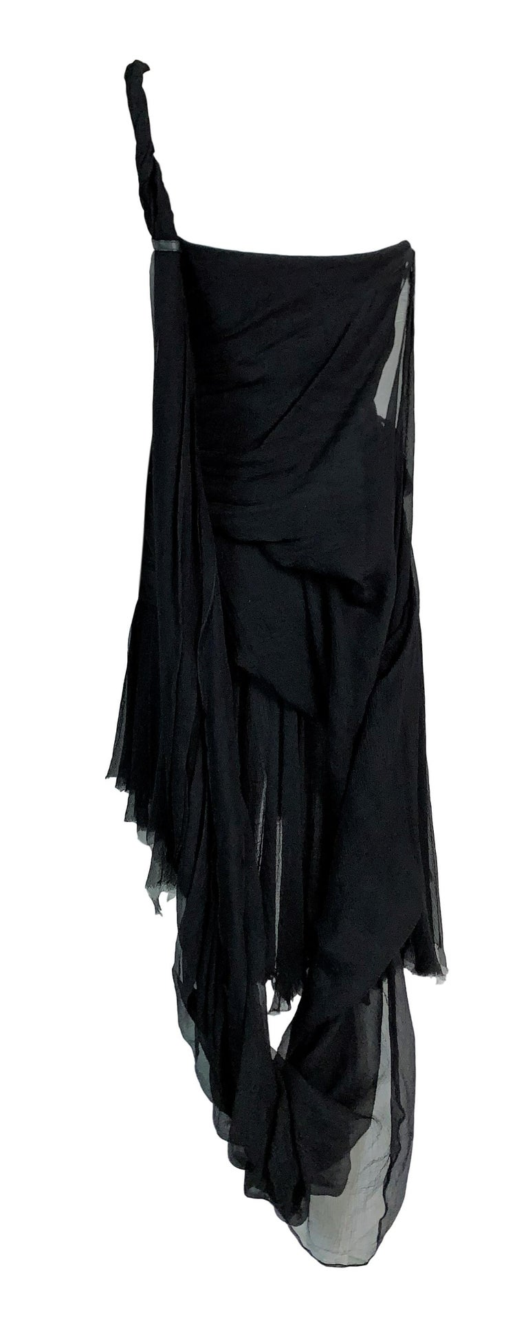 S/S 2003 Alexander McQueen Irere Shipwreck Black Silk Bustier Mini Dress For Sale 2