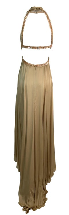 S/S 2003 Chanel Nude Silk Cut-Out Plunging Embellished Gown Dress