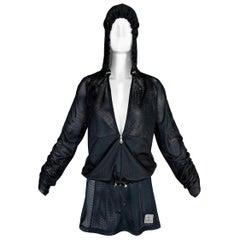 S/S 2003 Chanel Sheer Black Mesh Hoodie Jacket & Skirt Tracksuit Set